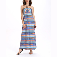 Knitted Cotton   Polyester One-piece Dress backless ankle-length printed geometric blue