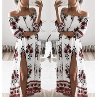 Cotton One-piece Dress side slit off shoulder   ankle-length printed floral white Sold By PC