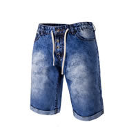 Denim Middle Waist Men Capri Pants plain dyed patchwork