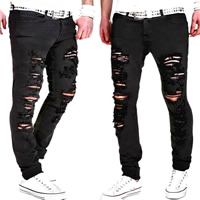 Polyester   Cotton without belt   Middle Waist Men Casual Pants frayed patchwork black