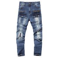 Denim Men Jeans frayed patchwork blue