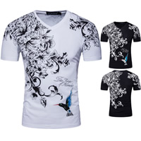 Cotton Men Short Sleeve T-Shirt printed floral Sold By PC