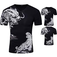 Cotton Men Short Sleeve T-Shirt printed animal prints