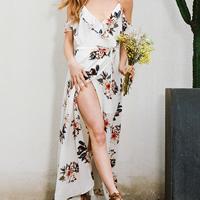 Polyester   Cotton front slit Beach Dress backless off shoulder printed floral white