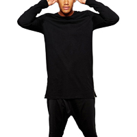 Cotton Men Long Sleeve T-shirt Solid