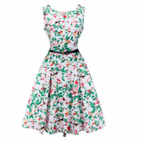 Polyester   Cotton One-piece Dress with belt printed leaf pattern green