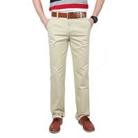Spandex   Polyester   Cotton without belt   Plus Size Men Casual Pants plain dyed Solid