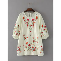Cotton A-line One-piece Dress embroidered floral white