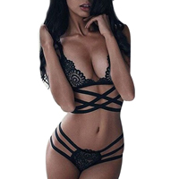 Spandex Sexy Bra Set hollow embroider Solid black Sold By Set