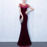 Polyester & Cotton Mermaid Long Evening Dress backless floor-length & transparent & padded patchwork Sold By PC
