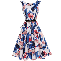 Polyester   Cotton A-line One-piece Dress with belt printed floral Sold By PC