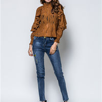 Lace Women Long Sleeve T-shirt hollow   transparent embroidered patchwork