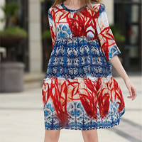 Polyester One-piece Dress printed leaf pattern Sold By PC