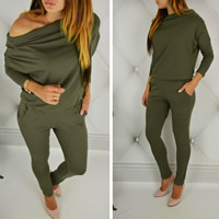 Polyester Long Jumpsuit off shoulder Solid Sold By PC