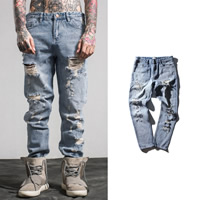 Denim Middle Waist Men Casual Pants without belt frayed patchwork light blue Sold By PC