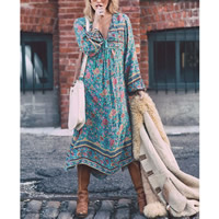 Cotton Plus Size   Asymmetrical One-piece Dress printed floral green