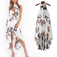 Chiffon Asymmetrical Halter Dress side slit   backless short front long back   hollow printed floral white Sold By PC