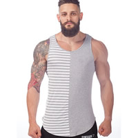 Polyester   Cotton Men Athletic Tank loose printed striped Sold By PC