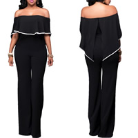 Polyester Long Jumpsuit backless off shoulder patchwork black Sold By PC