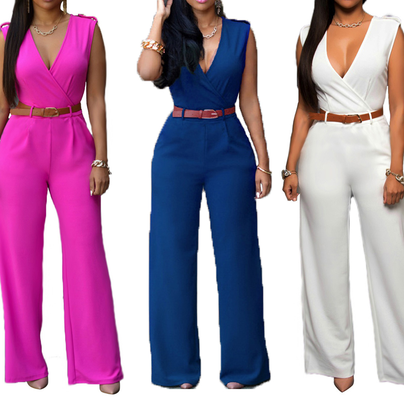 Cotton Long Jumpsuit with belt Solid Sold By PC