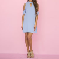 Polyester One-piece Dress off shoulder   hollow plain dyed Solid