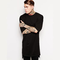 Cotton Men Short Sleeve T-Shirt short front long back   loose plain dyed Solid Sold By PC