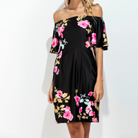 Polyester One-piece Dress off shoulder & tube printed floral black Sold By PC