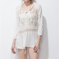 Polyester Lace Up Women Sun Protection Clothing with Lace patchwork white Sold By PC