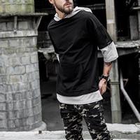 Cotton Men Sweatshirts false two piece plain dyed patchwork Sold By PC