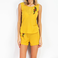 Cotton Women Sportswear Set short   sleeveless T-shirt embroidered floral yellow Sold By PC