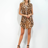 Polyester   Cotton One-piece Dress side slit knitted leopard Sold By PC