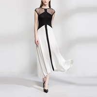 Cotton One-piece Dress with Gauze patchwork white Sold By PC