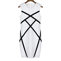 Cotton One-piece Dress geometric white Sold By PC