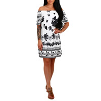 Spandex   Polyester Layered One-piece Dress off shoulder printed floral white Sold By PC