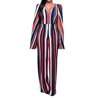 Milk Silk Long Jumpsuit backless printed striped Sold By PC