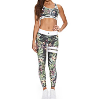 Spandex   Polyester Women Yoga Clothes Set backless tank top   Pants printed leaf pattern Sold By Set