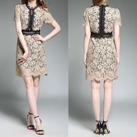 Lace A-line & Miracle Tassel One-piece Dress hollow patchwork Apricot Sold By PC