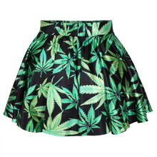 Milk Silk Pleated Skirt printed leaf pattern black Sold By PC