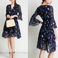 Chiffon Princess One-piece Dress transparent printed shivering deep blue Sold By PC