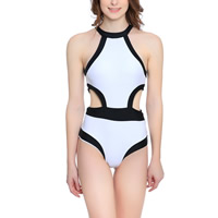 Nylon One-piece Swimsuit backless hollow patchwork white Sold By PC