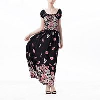Cotton One-piece Dress backless off shoulder printed different pattern for choice black Sold By PC