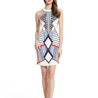 Mixed Fabric & Cotton One-piece Dress off shoulder & hollow printed geometric white Sold By PC