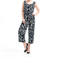 Mixed Fabric & Cotton Middle Waist Long Jumpsuit without belt off shoulder & hollow printed leaf pattern black Sold By PC