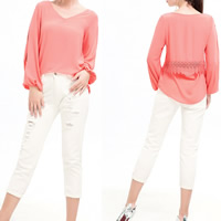Chiffon Miracle Tassel Women Long Sleeve T-shirt side slit short front long back & hollow with Lace patchwork Sold By PC