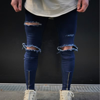 Cotton Denim Middle Waist Men Jeans frayed patchwork blue Sold By PC