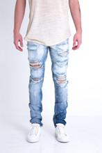 Cotton Denim Middle Waist Men Pencil Pants skinny washed patchwork light blue Sold By PC