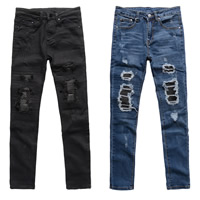 Cotton Middle Waist Men Jeans without belt skinny frayed patchwork Sold By PC