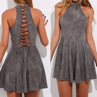 Cotton Lace Up & A-line One-piece Dress off shoulder plain dyed Solid grey Sold By PC