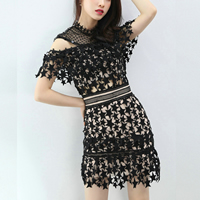 Lace Layered & High Waist One-piece Dress off shoulder & hollow & transparent star pattern black Sold By PC