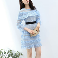 Lace Short Evening Dress hollow patchwork blue Sold By PC